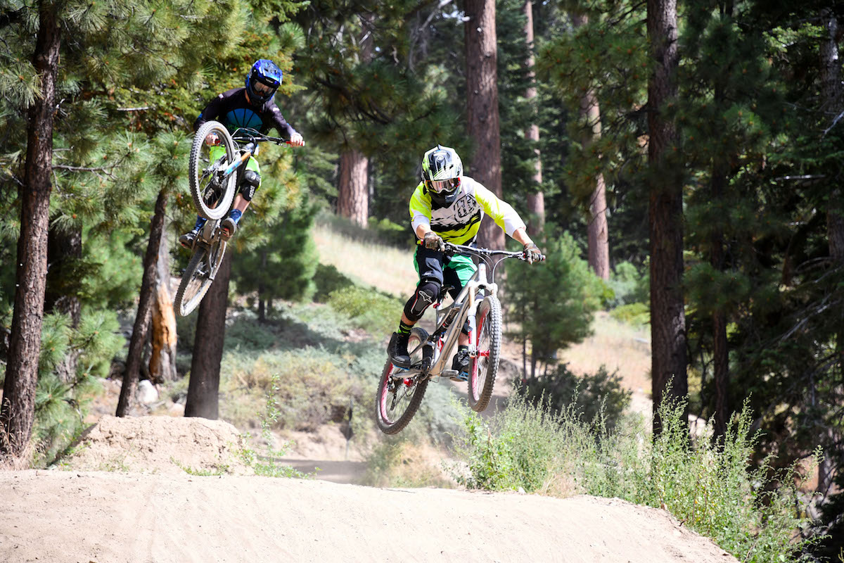Shredding at Big Bear Mountain Resorts bike park in California.