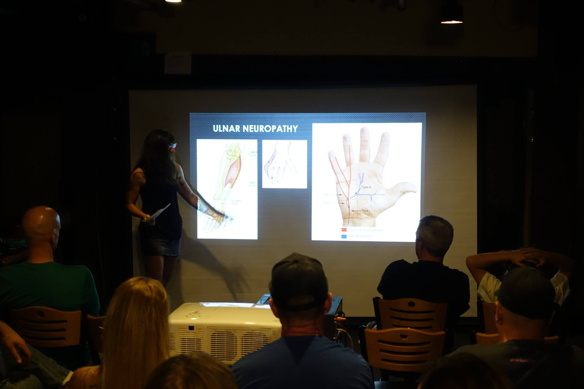 presenting information on nerves of the hand